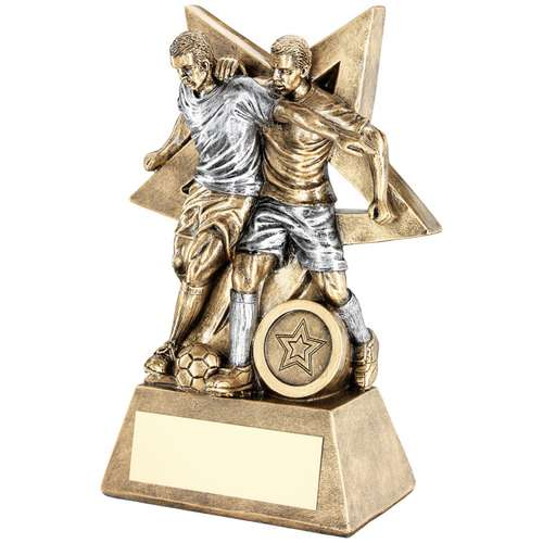 BRZ/PEW MALE DOUBLE FOOTBALL FIGURE WITH STAR BACKING TROPHY (1i
