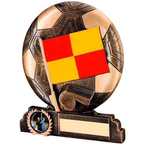 BRZ/GOLD/RED/YELLOW RESIN LINESMAN TROPHY - (1in CENTRE) 6.5in