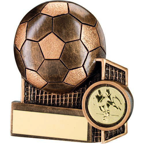 GOLD FOOTBALL & NET FLATBACK TROPHY - 4.25in