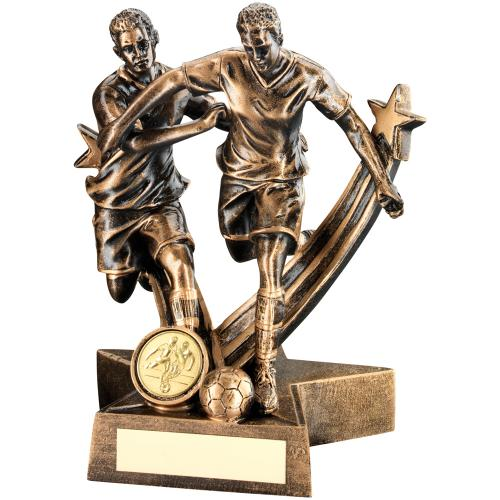 BRZ/GLD RESIN MALE FOOTBALL 'STAR ACTION' DOUBLE FIGURE TROPHY -