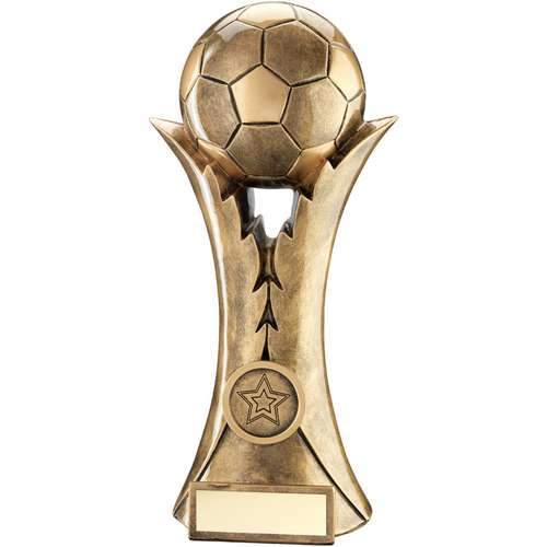 BRZ/GOLD FOOTBALL ON LEAF COLUMN TROPHY (1in CENTRE) - 8in