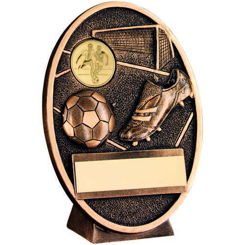 GOLD FOOTBALL & BOOT OVAL PLAQUE TROPHY - 5.5in