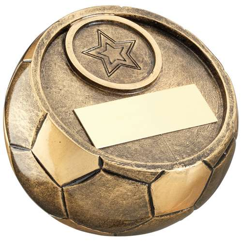 BRZ/GOLD FULL 3D ANGLED FOOTBALL TROPHY (1in CENTRE) - 4in DIA