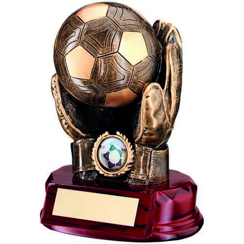 BRZ/GOLD RESIN FOOTBALL GOALKEEPER 'BALL IN HANDS' TROPHY - (1in
