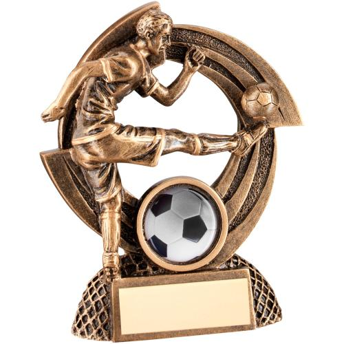 BRZ/GOLD FLATBACK MALE FOOTBALL 'QUARTZ' FIGURE TROPHY - (1in CE