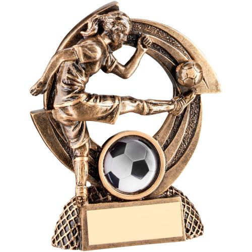 BRZ/GOLD FLATBACK FEMALE FOOTBALL 'QUARTZ' FIGURE TROPHY - (1in