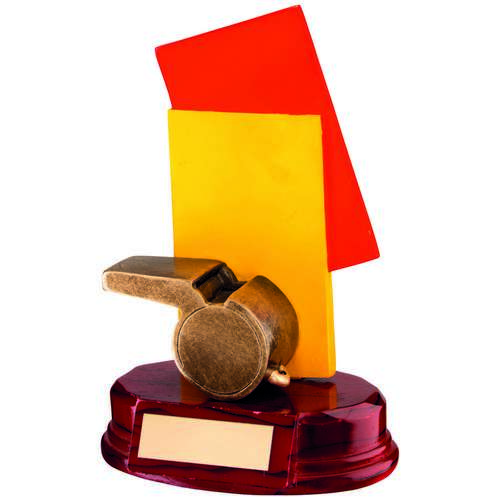BRZ/RED/YELLOW RESIN REFEREE 'CARDS+WHISTLE' TROPHY - 6.75in