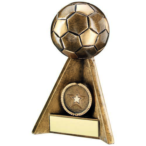 BRZ/GOLD FOOTBALL PYRAMID TROPHY - (1in CENTRE) 6in