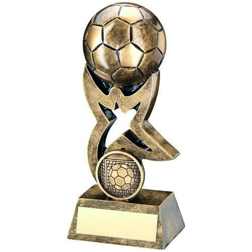BRZ/GOLD FOOTBALL ON STAR RISER TROPHY - (1in CENTRE) 7in