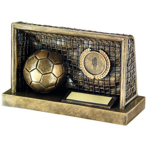 GOLD FOOTBALL IN GOALS TROPHY - 3 x 5in