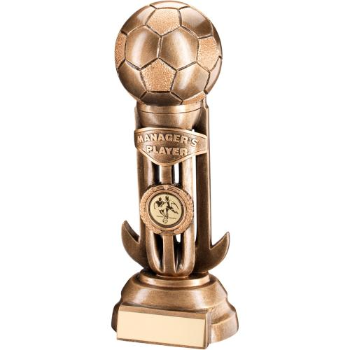 Football On Caged Riser Trophy - Managers Player