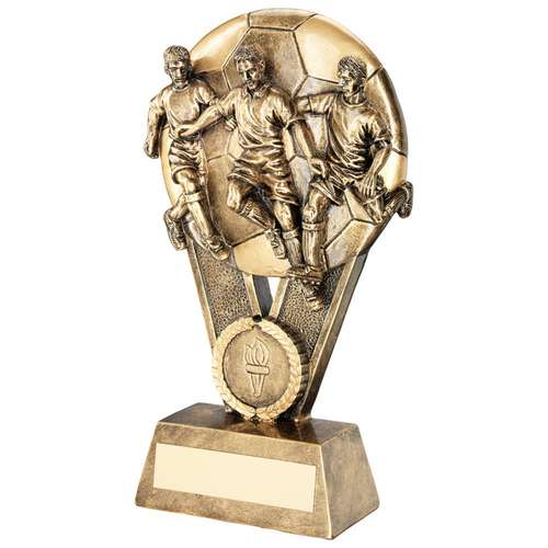 BRZ/GOLD MALE MULTI FOOTBALLER ON BALL TROPHY (1in CENTRE) - 6in