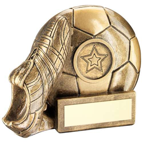BRZ/GOLD FOOTBALL AND BOOT CHUNKY FLATBACK TROPHY (1in CENTRE) -