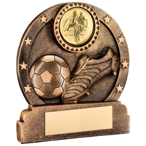 BRZ/GOLD RESIN ROUND FOOTBALL/BOOT/STARS  TROPHY - (1in CENTRE)