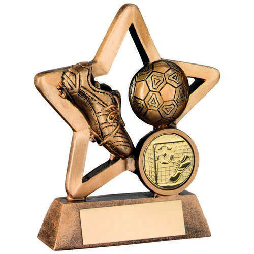 BRZ/GOLD RESIN FOOTBALL MINI STAR TROPHY - (1in CENTRE) 3.75in