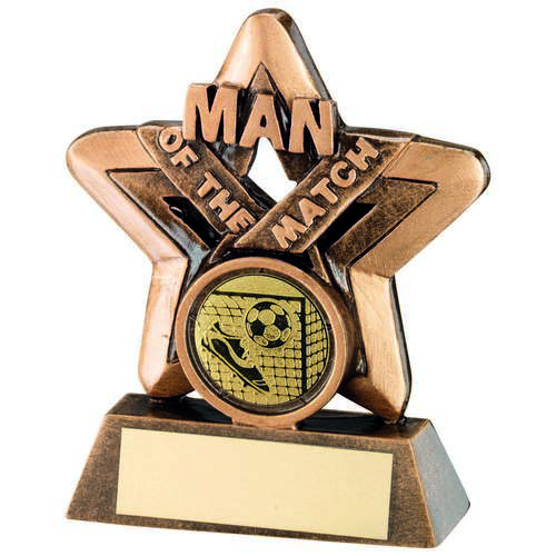 GOLD MAN OF THE MATCH MINI STAR TROPHY - 3.75in