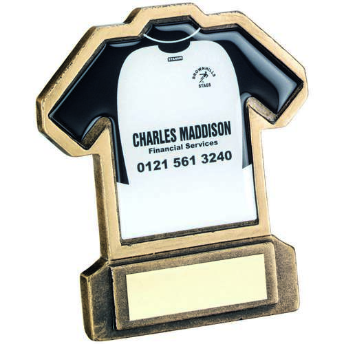 BRZ/GOLD RESIN FOOTBALL SHIRT TROPHY - (SHIRT C) 4.5in