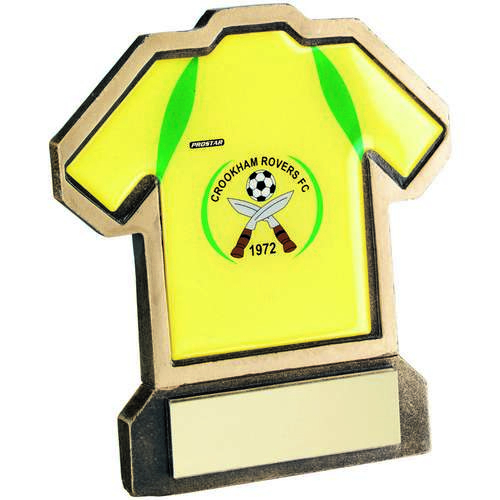 BRZ/GOLD RESIN FOOTBALL SHIRT TROPHY - (SHIRT D) 5in