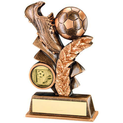 GOLD FOOTBALL LEAF PLAQUE TROPHY - 4.25in