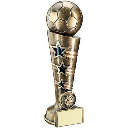 BRZ/GOLD 3 STAR FOOTBALL COLUMN TROPHY - (1in CENTRE) 8.25in