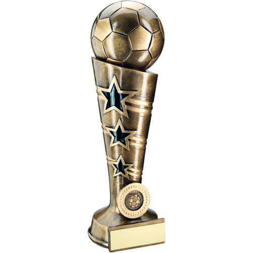 BRZ/GOLD 3 STAR FOOTBALL COLUMN TROPHY - (1in CENTRE) 10.25in