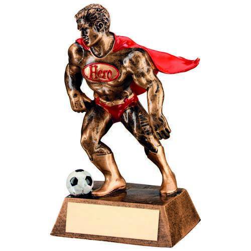 BRZ/GOLD/RED RESIN FOOTBALL 'HERO' TROPHY - 6.25in
