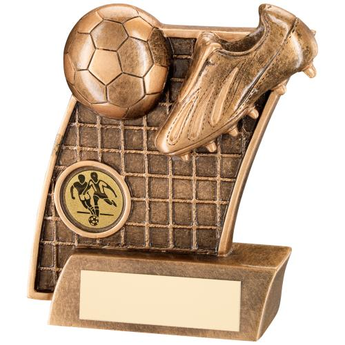 BRZ/GOLD FOOTBALL BOOT + BALL ON NET BACKDROP TROPHY - (1in CENT