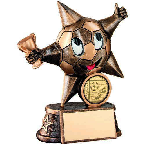 GOLD RESIN FOOTBALL 'COMIC STAR' FIGURE TROPHY -