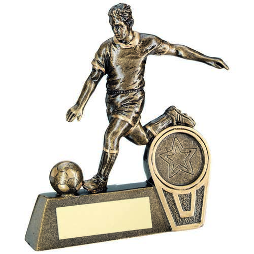 BRZ/GOLD MINI MALE FOOTBALL FIGURE TROPHY - (1in CENTRE) 4in