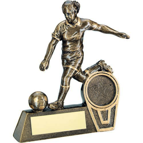 GOLD MINI FEMALE FOOTBALL FIGURE TROPHY - 4.75in
