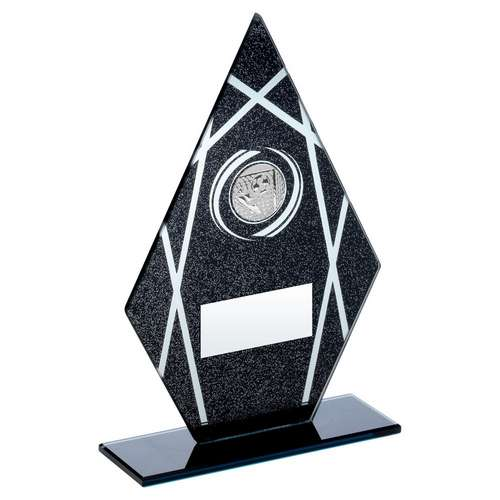 BLACK/SILVER PRINTED GLASS DIAMOND WITH FOOTBALL INSERT TROPHY -