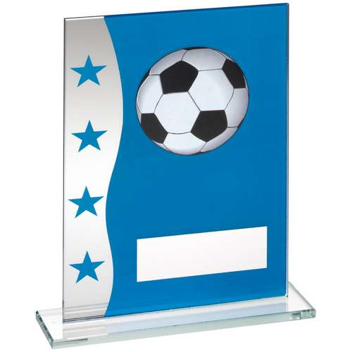 BLUE/SILVER PRINTED GLASS PLAQUE WITH FOOTBALL IMAGE TROPHY - 6.