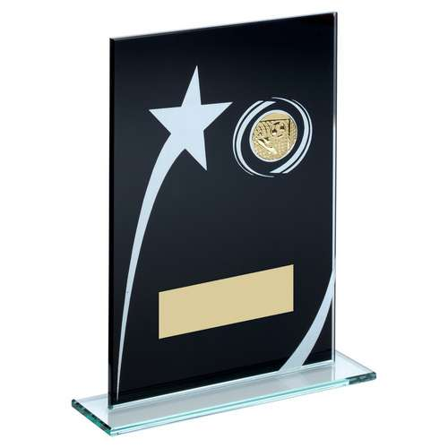 BLK/WHITE PRINTED GLASS PLAQUE WITH FOOTBALL INSERT TROPHY - 6.5