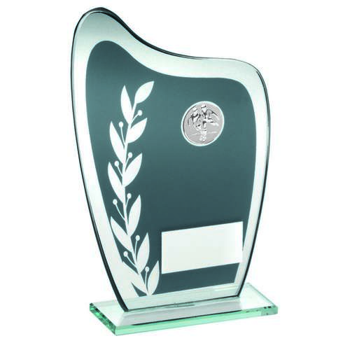 GREY/SILVER GLASS PLAQUE WITH FOOTBALL INSERT TROPHY - 6.5in