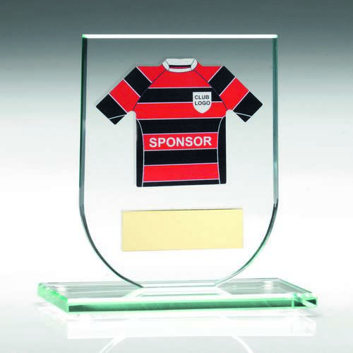 JADE GLASS PLAQUE WITH FOOTBALL SHIRT TROPHY - (SHIRT C) - 5.25i