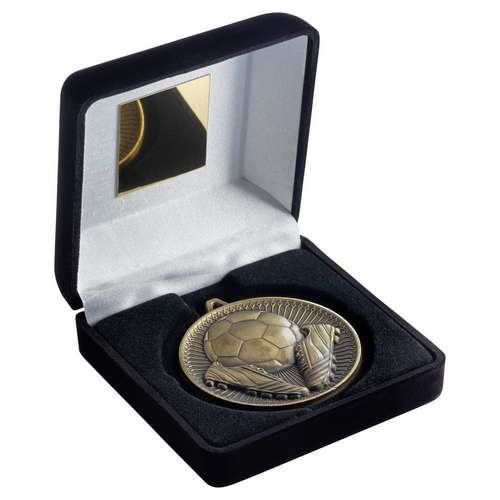 BLACK VELVET BOX AND 60mm MEDAL FOOTBALL TROPHY - ANTIQUE GOLD -