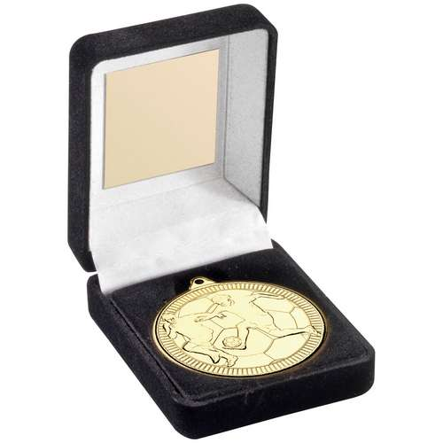 BLACK VELVET BOX AND 50mm MEDAL FOOTBALL TROPHY - BRONZE - 3.5in