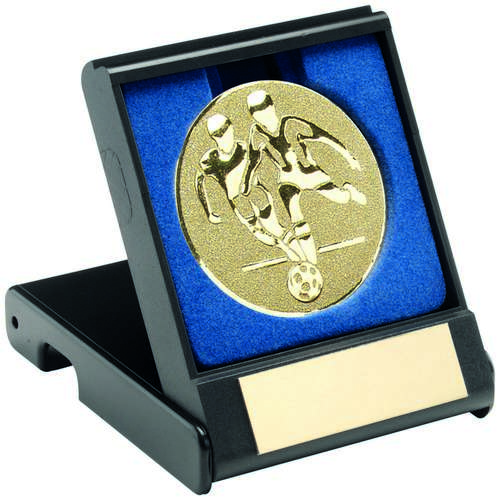BLACK PLASTIC BOX WITH FOOTBALL PLAYERS INSERT - GOLD - 3.5in