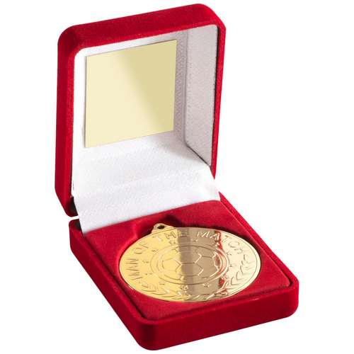 RED VELVET BOX AND 50mm MEDAL FOOTBALL 'M.O.T.M' TROPHY - GOLD -