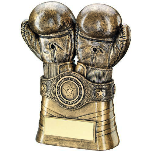 BRZ/GOLD BOXING GLOVES+BELT TROPHY - (1in CENTRE) 8in