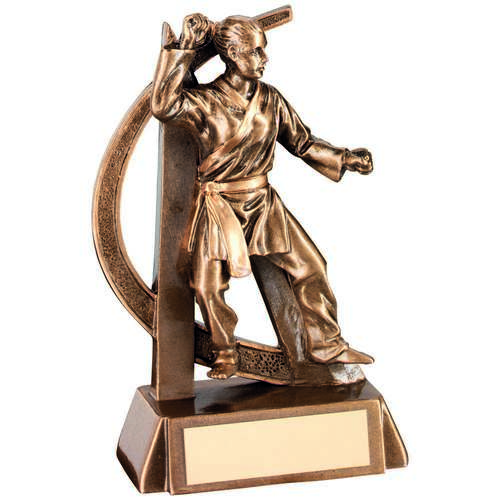 BRZ/GOLD FEMALE MARTIAL ARTS GEO FIGURE TROPHY - 6.75in