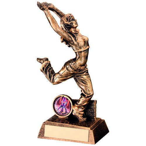 BRZ/GOLD RESIN FEMALE STREET DANCE FIGURE TROPHY - (1in CENTRE)