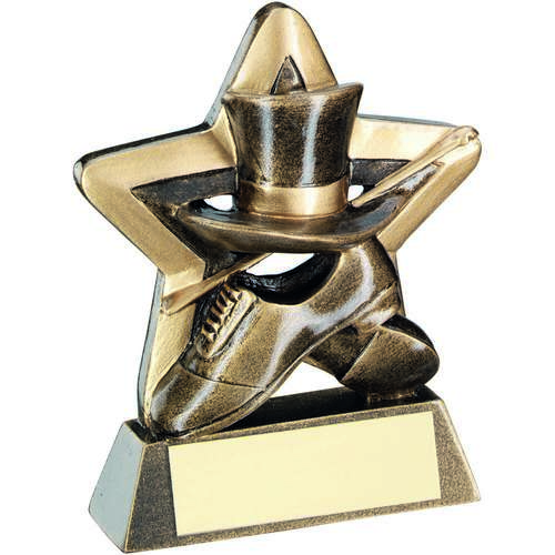 BRZ/GOLD TOP HAT/GLOVES/CANE MINI STAR TROPHY - 3.75in