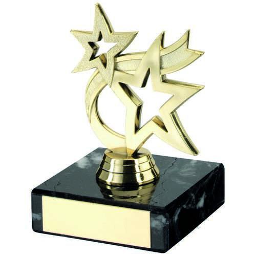 GOLD PLASTIC+MARBLE 'DANCING STAR' TROPHY - 4.5in