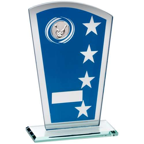 BLUE/SILVER PRINTED GLASS SHIELD WITH TEN PIN INSERT TROPHY - 6.