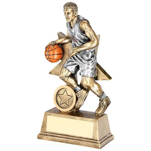 BRZ/PEW/ORANGE MALE BASKETBALL FIGURE WITH STAR BACKING TROPHY (