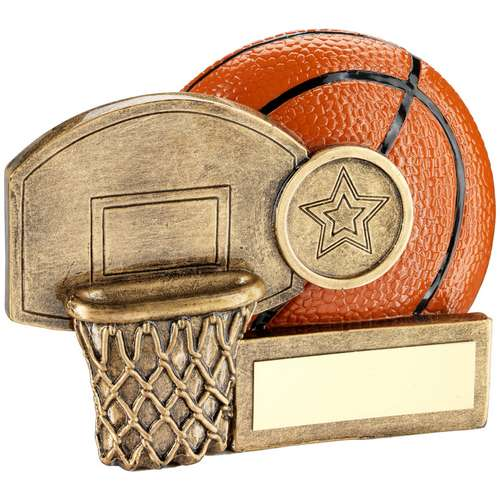 BRZ/ORANGE BASKETBALL AND NET CHUNKY FLATBACK TROPHY (1in CENTRE