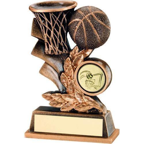 BASKETBALL LEAF PLAQUE TROPHY - 4in