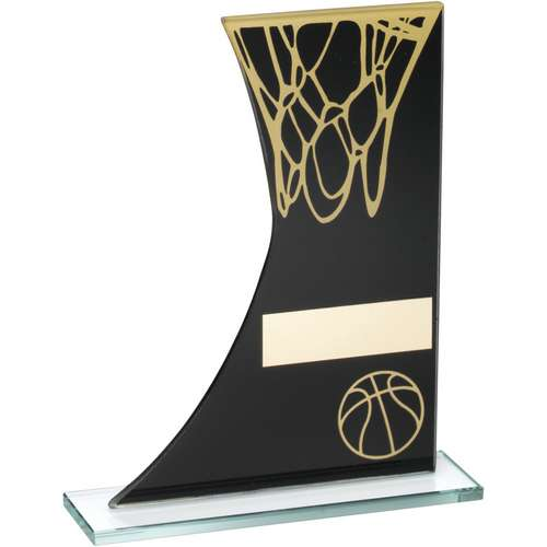 BLACK/GOLD PRINTED GLASS PLAQUE WITH BASKETBALL/NET TROPHY - 6.5