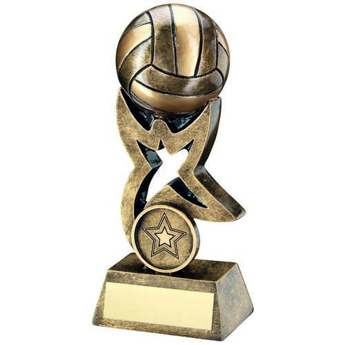 BRZ/GOLD NETBALL ON STAR TROPHY RISER TROPHY - (1in CENTRE) 5.5i